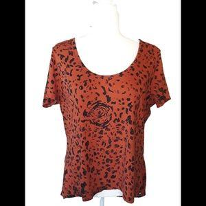 Vans Orange Leopard Hi-Low Shirt Keyhole Back XL